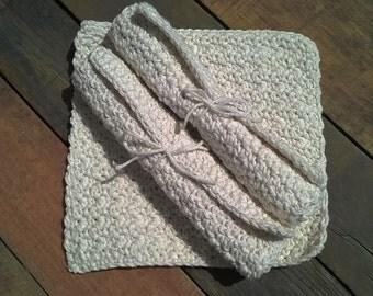 Crochet Cotton Washcloths - set of 3