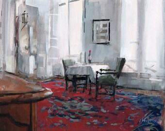 Art Print Interior Bright 9x12 on 11x14 - Interior with Wine Bottle by David Lloyd