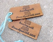 His and Hers Personalized Traveling With Leather Luggage Tag