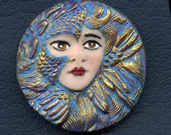 Polymer  Clay Detailed Teal Art Nouveau Goddess Cab  ANTU 3