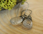 black rutilated quartz and rustic silver earrings - oxidized silver