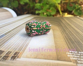 spring carnival - vintage inspired embroidery cylinder bead