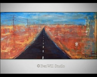 HIGHWAY Abstract Modern Oil Painting Route 66 ORIGINAL Southwestern Art --- 48x24 by BenWill