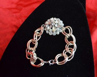 Pretty assemblage bracelet, rhinestones and silver