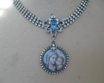 Madonna and Child, vintage rhinestone, 1950s paste, religious necklace, rhinestone choker, rosary, Catholic, Mary and Jesus, French Madonna