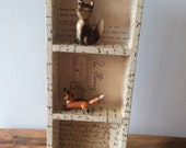 Wood Storage Shelf Covered in Antique Vintage Documents Postage Letters Correspondence