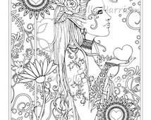 Heart Garden  - Digital Stamp - Printable - Hippie Floral Boho Bohemian - Molly Harrison Fantasy Art - Digistamp Coloring Page