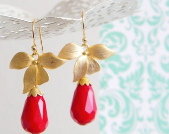 Gold Orchid Red Opaque Quartz Faceted Teardrop Earrings