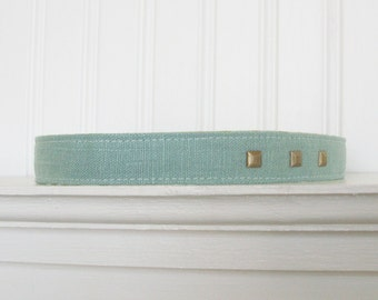 Blue Linen Headband- Womens Headband - Fabric Headband - Skinny Headband  - Adult Headband - Womens Hair Accessories