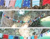 Long Scrap Fabric Flag Bunting Garland - Over 7 feet - blue, orange, teal, navy