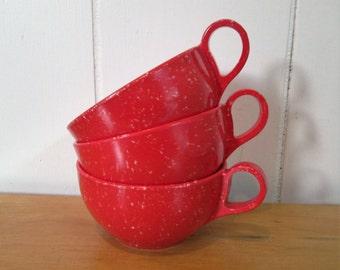 3 vintage red speckled melmac cups