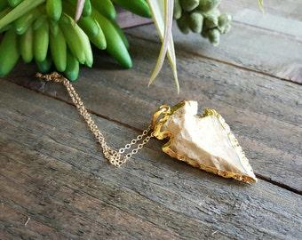 Arrowhead Necklace, Natural Agate Arrow Gold Necklace, Arrow Stone Necklace Jewelry, Gold Modern Necklace, Gemstone Necklace