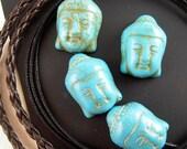 4 Turquoise Blue Stone Buddha Beads, 20mm, Blue Howlite, Mottled Blue, Buddha Head, Blue Magnesite Buddha Beads, Blue Stone Beads, M006