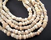 Tiny White Excavation African Trade Beads, 2x3mm, 4x5mm, Antique White Glass Seed Beads, Ancient Artifact Beads, 600 Yrs, Africa, EX03