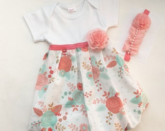 SHABBY CHIC coral and aqua Gown - new baby or girl sizes