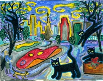 ORIGINAL PAINTING, High Living Black Cats jumping out of Trees Downtown at Twilight, by DM Laughlin