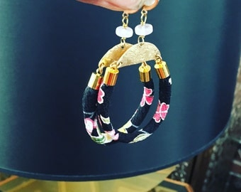 Floral Hoop Earrings -  Brass Crescent Moon earrings - Hoop Gemstone Earrings - Statement Earrings - Rose Quartz Earrings - Kimono Cord
