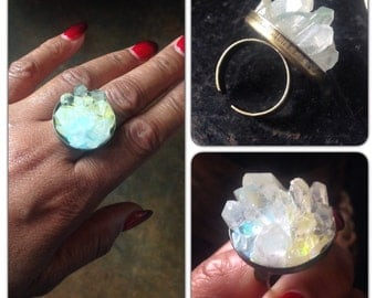 "Quartz Crystal Cluster Ring - Limited Edition - 1.5"" round - Quartz Ring - Crystal Geode ring - Healing Crystal - Crystal Magick"
