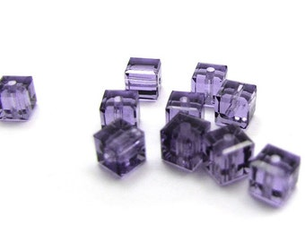 10 SWAROVSKI  8mm CUBES in TANZANITE