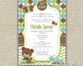 Baby Shower Boy Invitation Invite Bear Bug Green Chevron- Printable DIGITAL - by girls at play girlsatplay