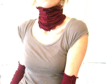 NECK WARMER  custom, hand made, more colors available, ruffled, great for layering, cozy, light layer, unique clothing, cotton neck scarf