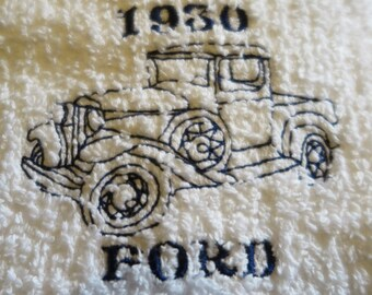 1930 Blue Ford Embroidered Vintage truck On White Dish Towel