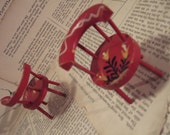 Pair of little Red hand painted CHAIRS