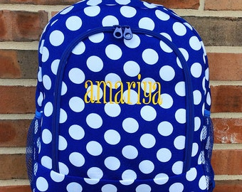 Royal Blue Big Dots Backpack Includes Monogrammed Name or Initials of Your Choice