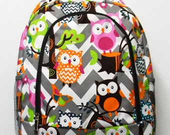 Owl Chevron Backpack - Owl Backpack - Monogrammed Backpack - Personalized with Name or Initials of Your Choice - Back to School