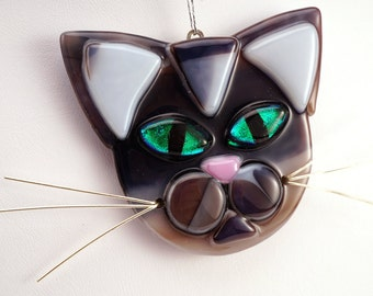 Brown cat glass ornament-cat lovers-cat ornament-green eyed cat-glass cat ornament