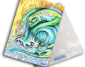 "One Note Card based on the piece ""Monster Wave"" by Poxodd. 6"" X 4""  Beach, ocean, sea creature, dragon"