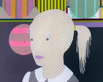 Reverie- Original Acrylic Washi Tape Painting on Panel