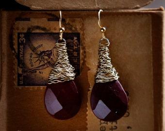 Merlot - Strung-Out guitar string earrings with burgundy mookaite jasper stones