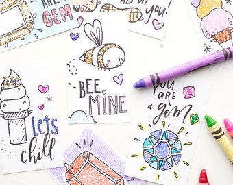 classroom valentines | six downloadable mini valentine cards