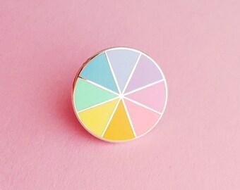 Pastel Colourwheel Enamel Pin Badge - Pastel Rainbow Lapel Pin
