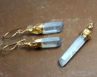 Blue Quartz Crystal Earring and Pendant Set Light Blue Titanium Quartz Points Gold Bargain Destash