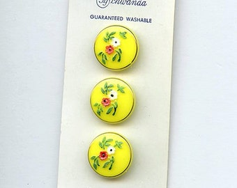 """Set of (6) YELLOW Vintage glass buttons with painted flowers New Old Stock Western Germany Original Card 11/16"""" size 2748 MORE AVAILABLE"""