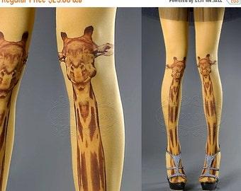 15%SALE/endsAUG30/ Tattoo Tights - mustard one size Giraffe full length closed toe tights pantyhose, tattoo socks, printed tights