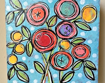 A Spring Day Original Mixed-Media Collage Acrylic Sweet Garden Floral Painting