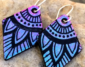 Purple/Pink Mandala Dichroic Earrings Hand Etched Glass Art with Sterling Silver Hooks