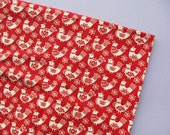 Christmas Birds - Red - Moda Folk Art Holiday - Half Metre - Destash Fabric