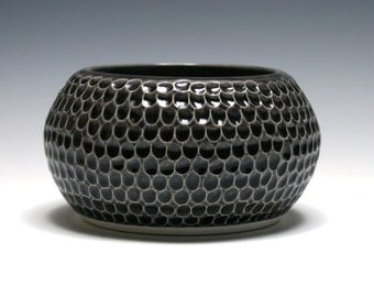 Dark Charcoal Gray Carved Bowl