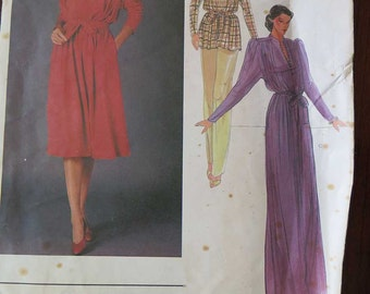 Vintage 80s Vogue 2700 International Designers RENATA Dress of Tunic and Belt Sewing Pattern size 12 UNCUT