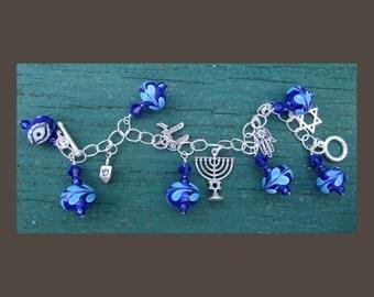 Sterling Channukah Hanukkah Charm Bracelet