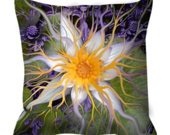 """Lotus Flower Throw Pillow - Floral Art Pillow - Bali Home Decor - """"Bali Dream Flower"""" by artist Christopher Beikmann"""