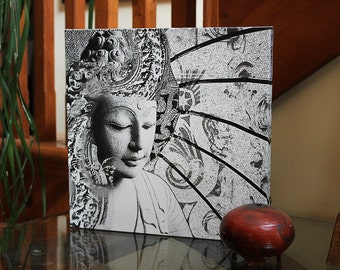 Bliss of Being - 12x12 Buddha Art Canvas - Black and White Buddhist Art by Christopher Beikmann