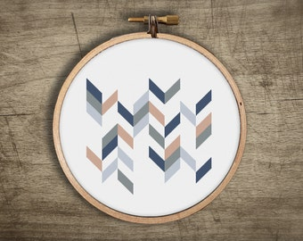 geometric chevron modern cross stitch pattern ++ retro mosaic ++ pdf INsTAnT DOwNLoAD ++ diy hipster ++ handmade design