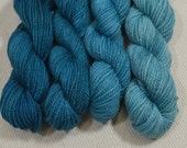 NEW Teal Gradation Hand Dyed DK Weight Yarn Polworth and Silk - Tango by Yarn Hollow - Teals Light to Dark