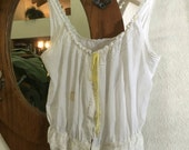 SALE!  OOAK Lightweight Tank Top Women's Small/Medium Vintage Antique Lace Shabby Chic Boho White camisole