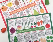 UK Seasonal Fruit & Vegetables - Set of 2 Kawaii Postcards